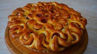 КРАСИВАЯ ПЫШНАЯ выпечка  дрожжевой пирог с колбасой ВКУСНАЯ домашняя выпечка