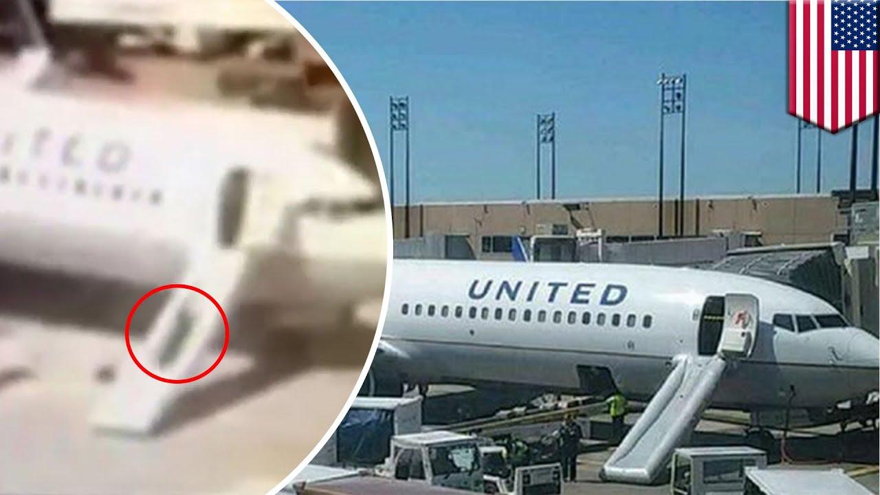 Flight Attendant Pulls Plane Emergency Chute Slides Down
