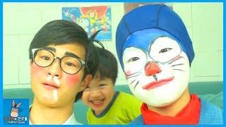 도라에몽 노진구 노비타 되다! feat. 인간 도라에몽 극장판 ㅋ ♡ 벌칙 분장 메이크업 Doraemon makeup ドラえもん メイク | 말이야와친구들 MariAndFriends