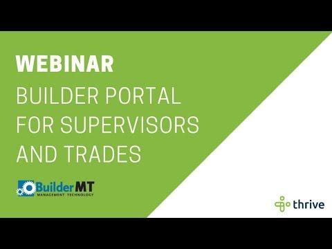 Webinar: BuilderMT Builder Portal for Supervisors and Trades | Thrive Technologies AU