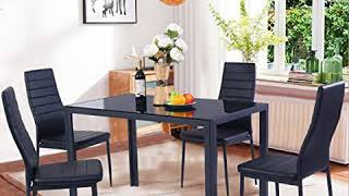 Gracelove 5 Piece Dining Table Set 4 Chairs Glass Metal Kitchen Room Breakfast Furniture