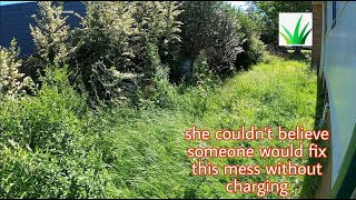 This client was SHOCKED that someone would do this for her - tall grass cutting