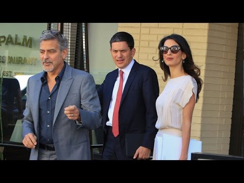 X17 EXCLUSIVE - Amal And George Clooney Entertain Former British Labour MP David Miliband