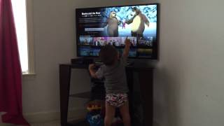 Toddler loves Masha and the Bear show on Netflix