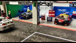 Showcase | Tarmac Works PARTS64 Falken Racing Pit Garage Diorama