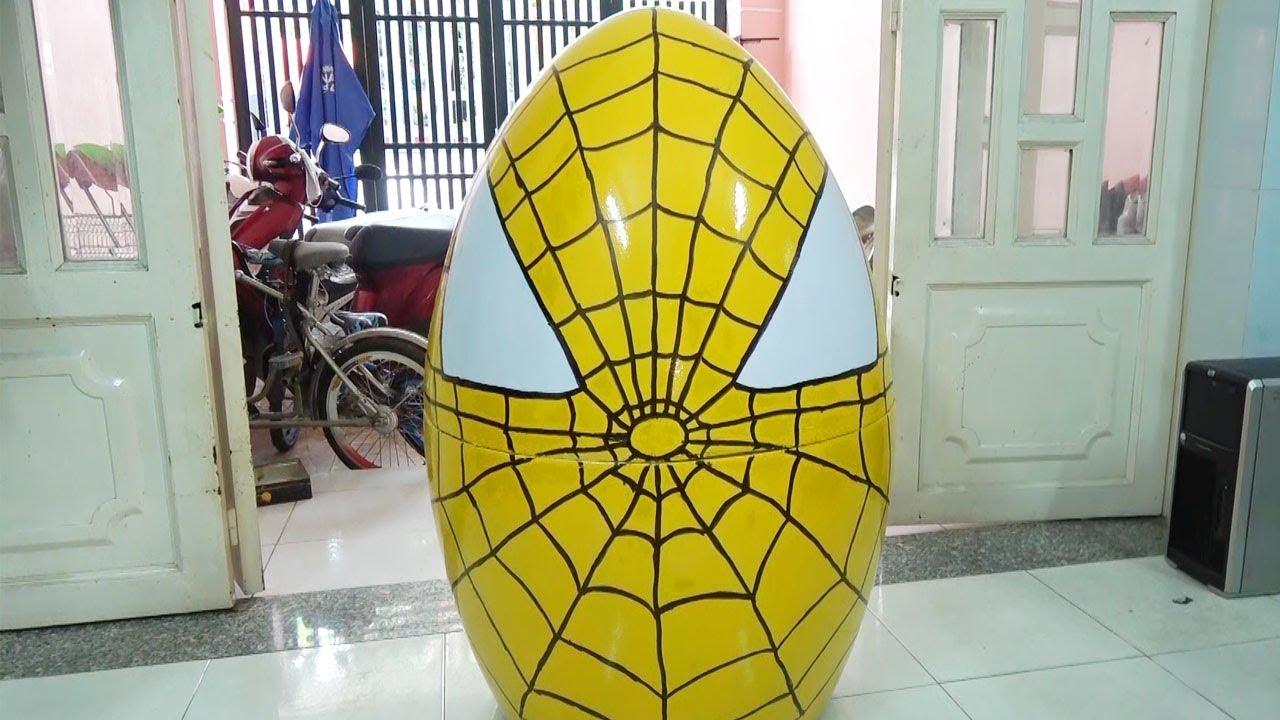 Vẽ Quả Trứng Khổng Lồ Siêu nhân Người nhện ❤ Surich ToysReview  ❤ Đồ Chơi Trẻ Em Giant Egg Spiderman