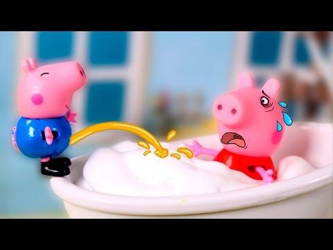 💗 PEPPA PIG 💗 George Pees In The Bathtub   Peppa Pig Toys English