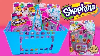 Large Blue Shopping Basket with Shopkins Season 4  12 + 5 Packs with Surprise Blind Bags