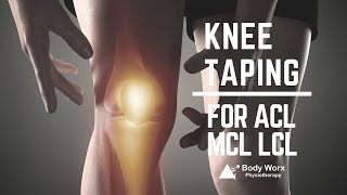 Newcastle Physio demonstrates Knee taping for ACL/MCL/LCL