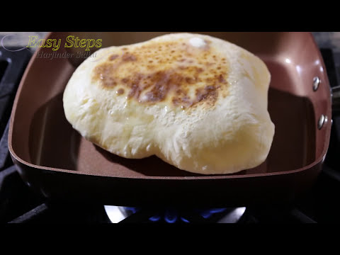 Cheddar Cheese Naan | Punjabi Naan Without Oven | Naan Made In Copper Chef Pan