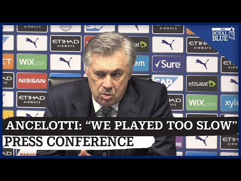 Carlo Ancelotti speaks to the media after Everton's 2-1 defeat to Man City