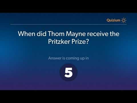 When did Thom Mayne receive the Pritzker Prize?   Thom Mayne Quiz