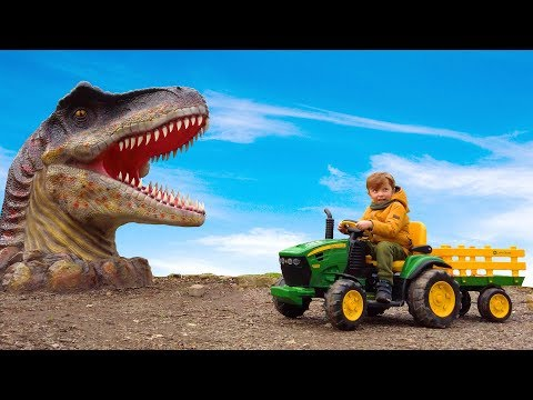 Leo is a Fun ride on the Big tractor and feeds dinosaurs squishee