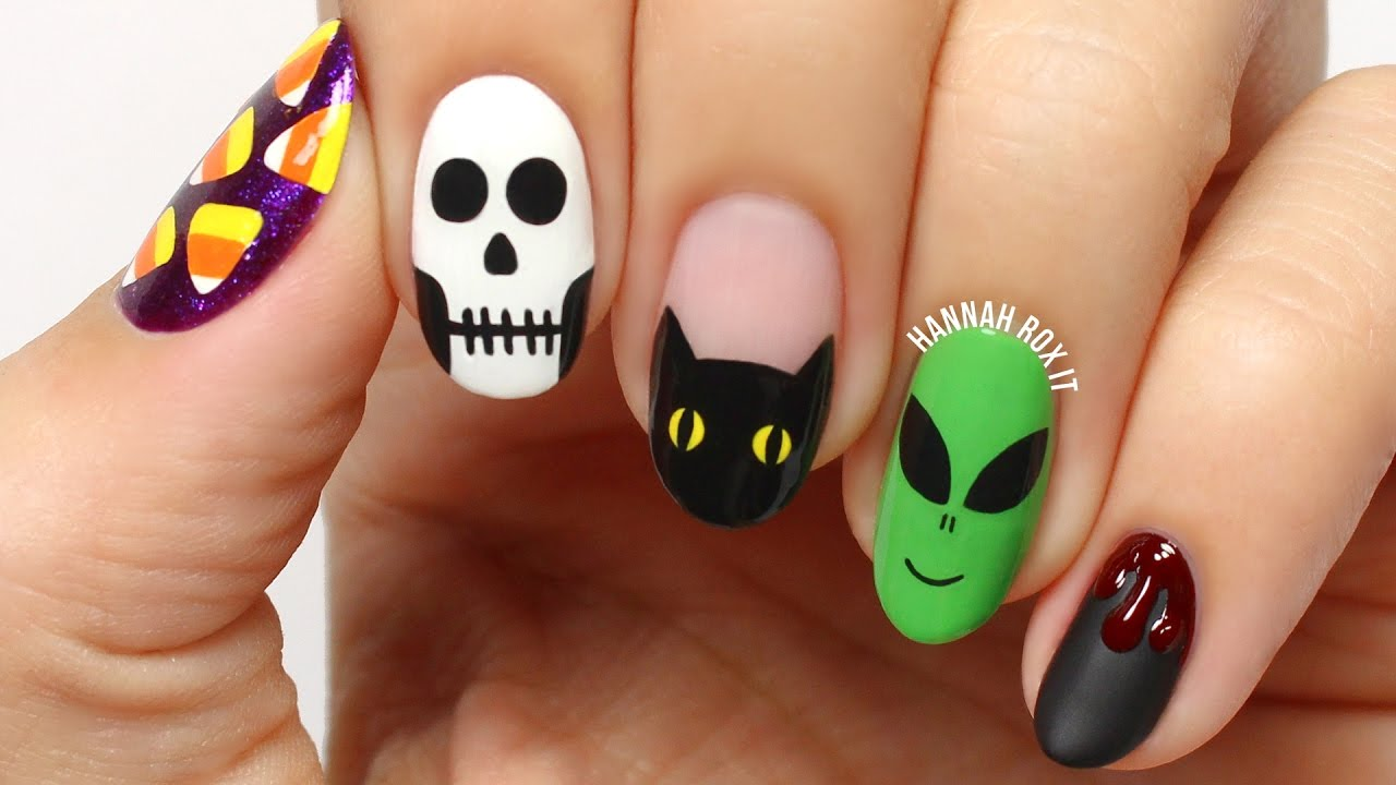 5 Fun Halloween Nail Art Designs! - YouTube