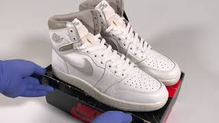 White and Natural Grey Vintage Original Nike Air Jordan 1 Highs From 1985