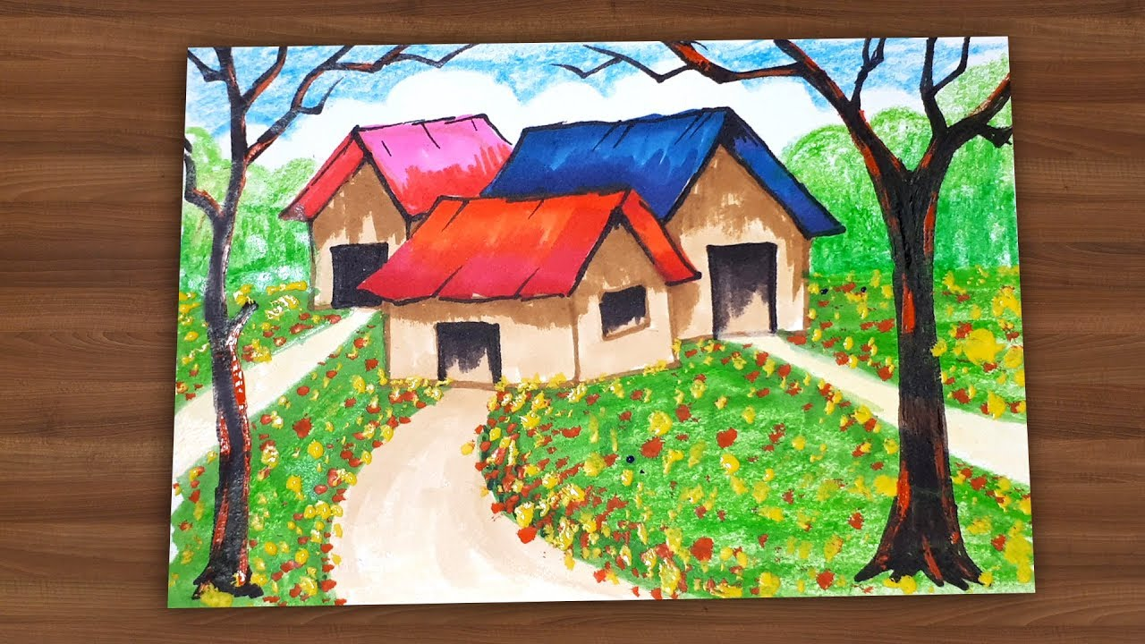 How To Draw A House In Flower Garden