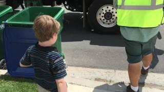 Garbage Truck Kid gets a Surprise!