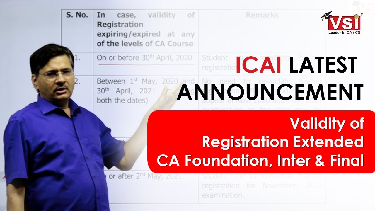 ICAI Latest Announcement: Validity of Registration Extended | CA Foundation, Inter & Final Exam |