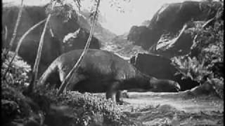 T-Rex vs Brontosaurus en EL MUNDO PERDIDO (THE LOST WORLD, 1925, Cinetel)
