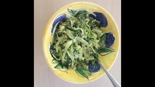 Raw Zucchini Fettuccine With Pesto Sauce