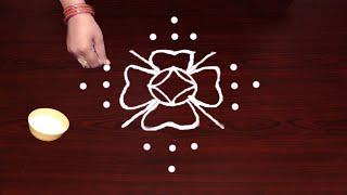 Easy Rangoli with 9X1 dots in telugu muggulu    simple rangoli Designs    Jhoti chita muruja latest