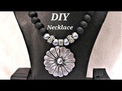 DIY   Easy To Make Metal Finishing Polymer Clay Necklace  | Jewelry Making Tutorial