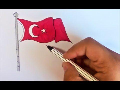 TÜRK BAYRAĞI Nasıl Çizilir? - En Kolay Bayrak Çizimi - (ÇOK KOLAY !)