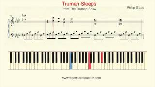"How To Play Piano: Philip Glass The Truman Show ""Truman Sleeps"" Piano Tutorial by Ramin Yousefi"