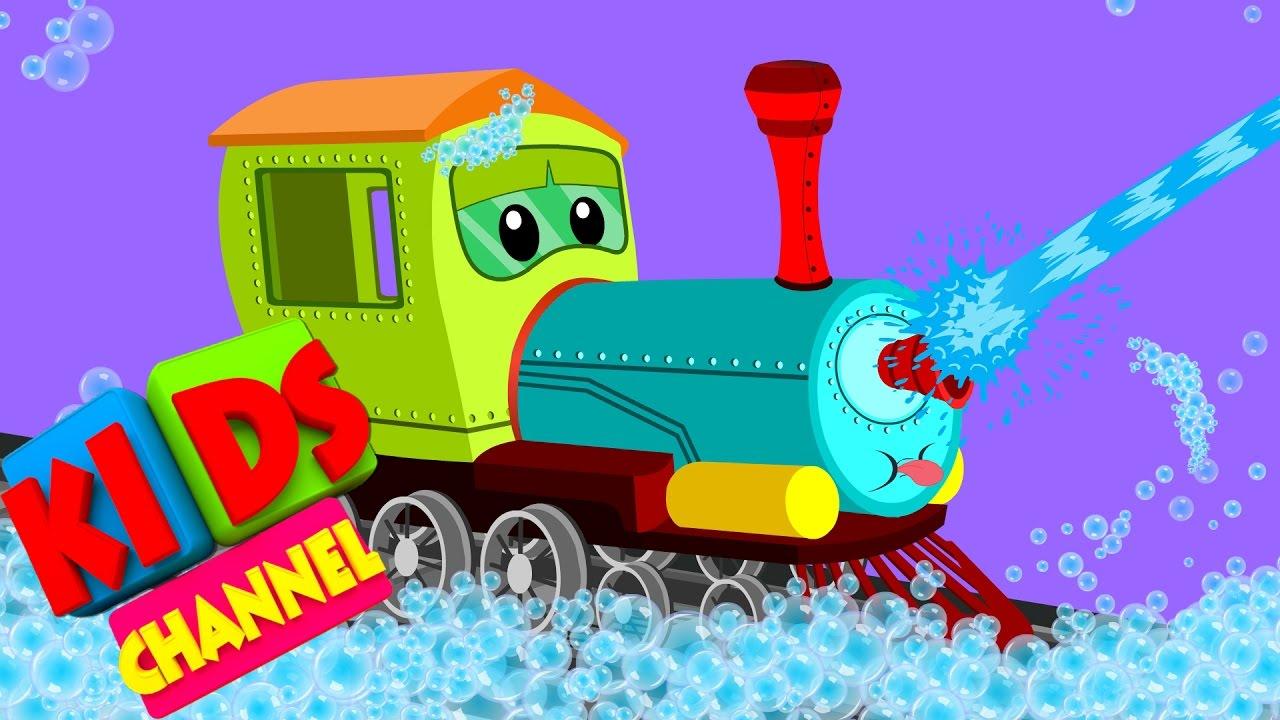 Train Car Wash Video For Kids Cartoon Vehicles For Children