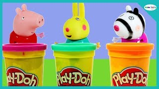 Play-Doh Surprise Eggs Hidden Toys - Peppa Pig Toys Play With Play-Doh