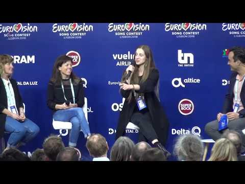 Eurovision 2018 - Press conference Sennek (Belgium) after first rehearsal