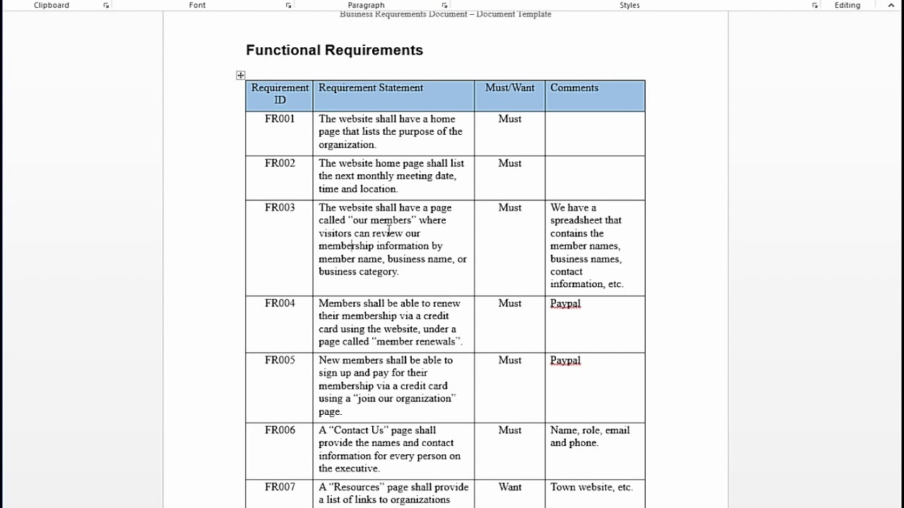 documenting functional requirements