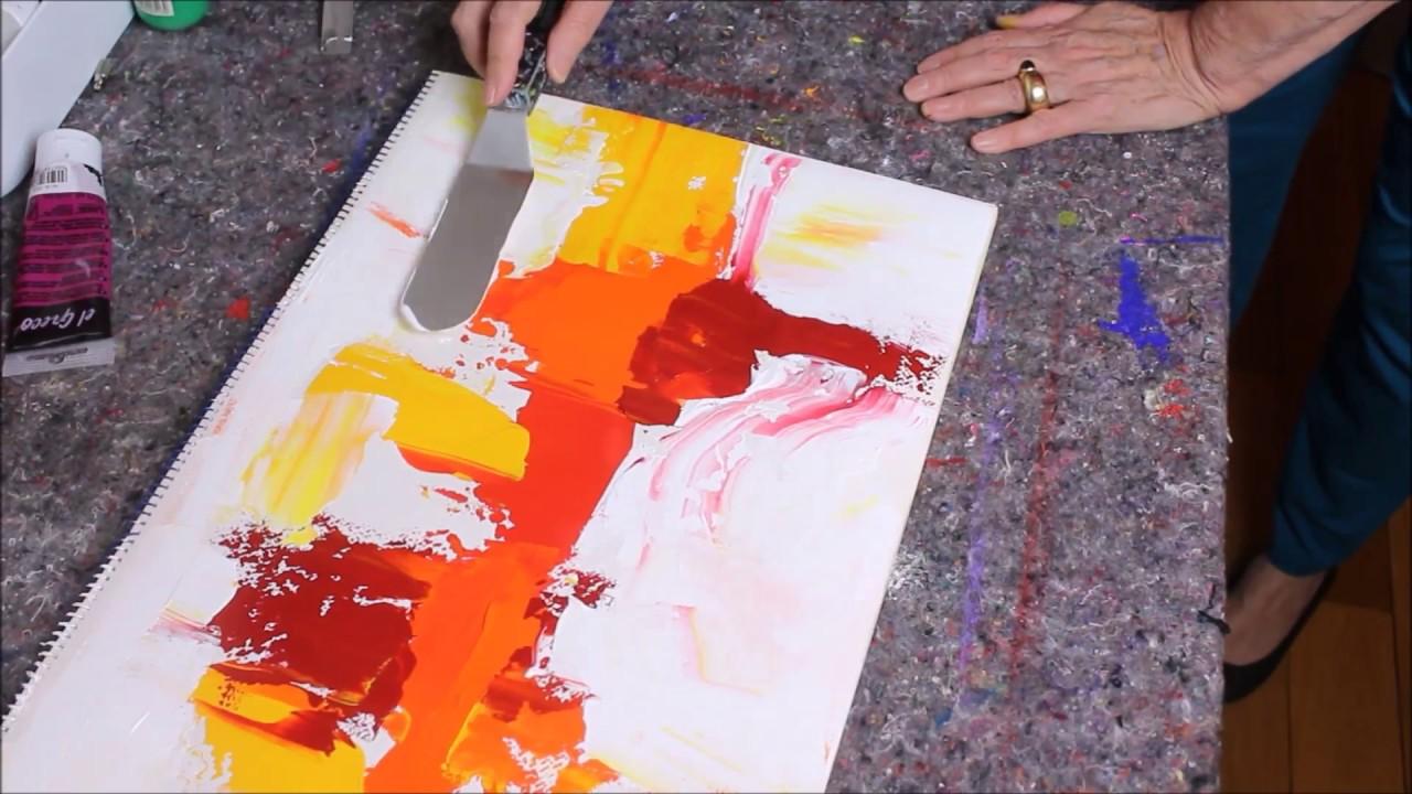 Abstract Painting Demo Abstrakte Malerei In Rot Und Gelb Acrylmalerei Für Anfänger