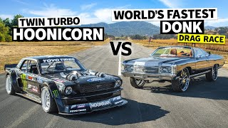 World's Fastest Donk (1,500hp) Vṡ Ken Block's 1,400hp AWD Ford Mustang // Hoonicorn Vs the World