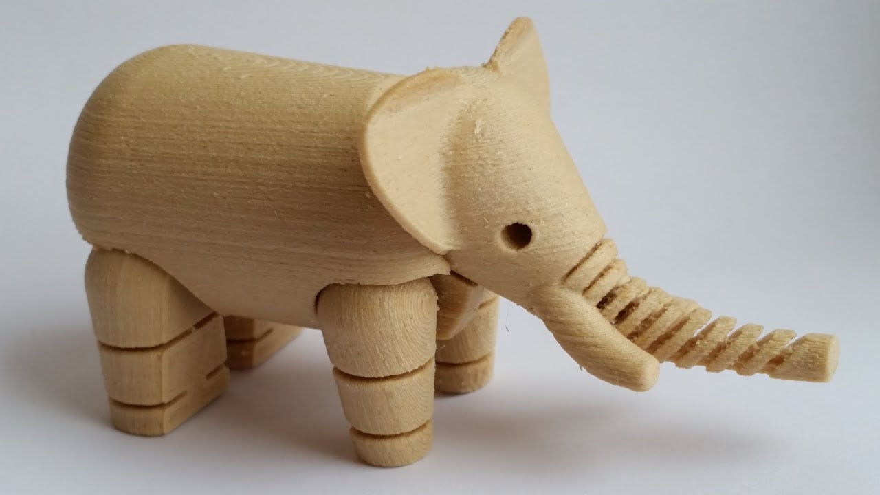 Wood Filament Review 3d Printed Toy Elephant Youtube