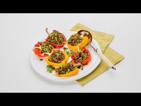 Paprika's gevuld met tuinerwten en gehakt - Allerhande