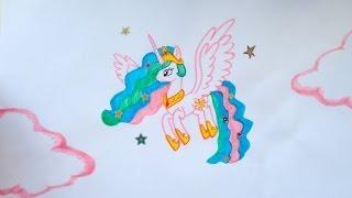 Как нарисовать пони Принцессу Селестию ♥(Привет! В этом видео я рисую пони Принцессу Селестию, я ее рисую второй раз, думаю вам понравится:) Это канал..., 2014-05-10T14:15:02.000Z)