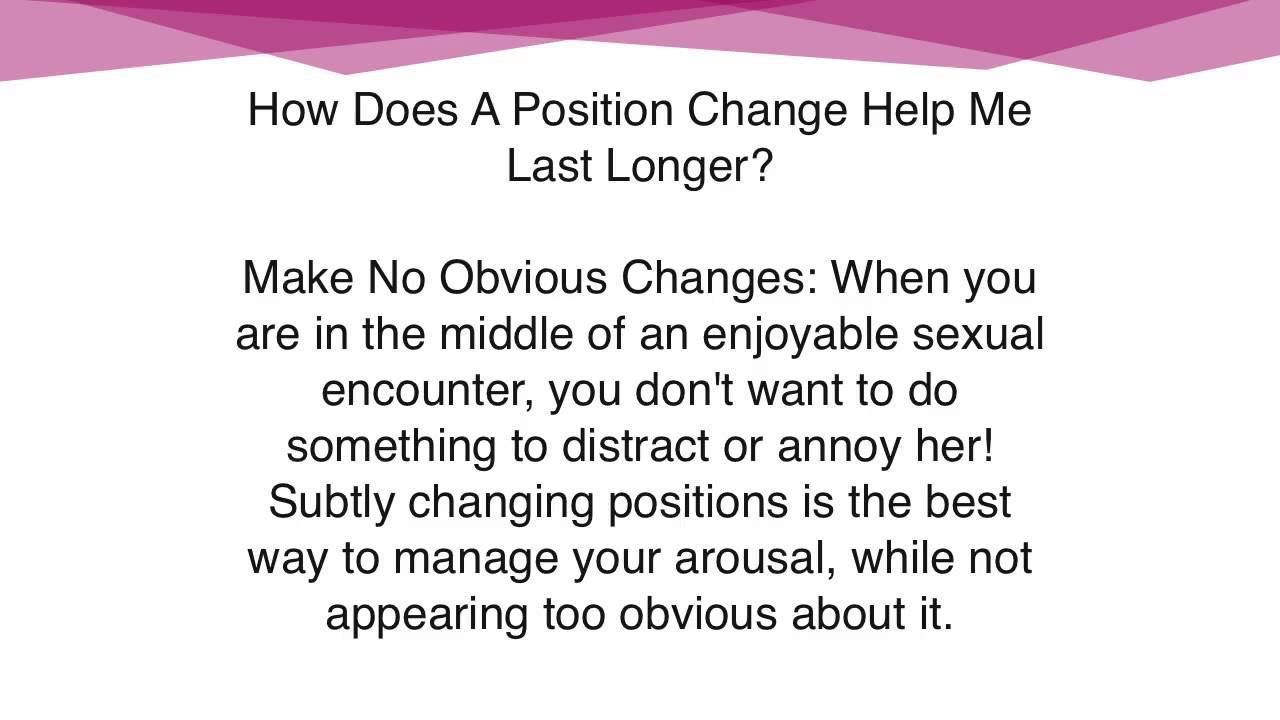 Best sex positions to last longer