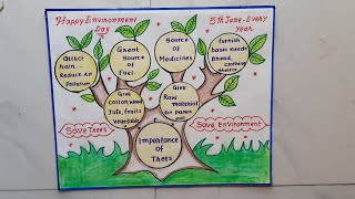 World Environment Day Slogan Drawing &Calligraphy//Save Trees Save Environment Poster //Project Work