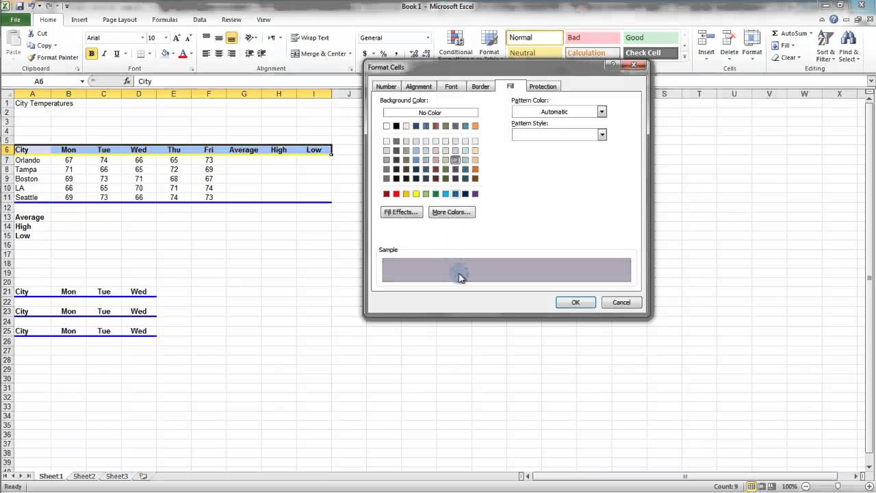 2.8 Fill Color Pattern and Gradients - MS Excel (Urdu