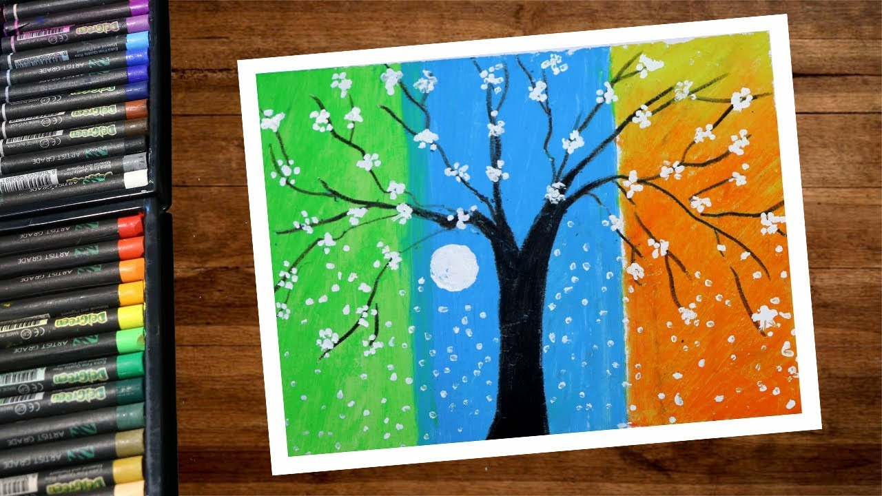 Landscape Three Color Shade Tree Drawing Using Oil Pastel Step By