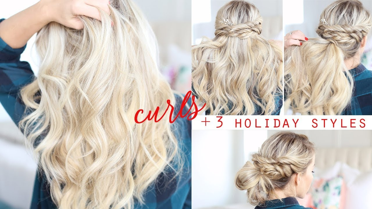 HOW TO: Soft Curls + 3 Holiday Hairstyles! - YouTube