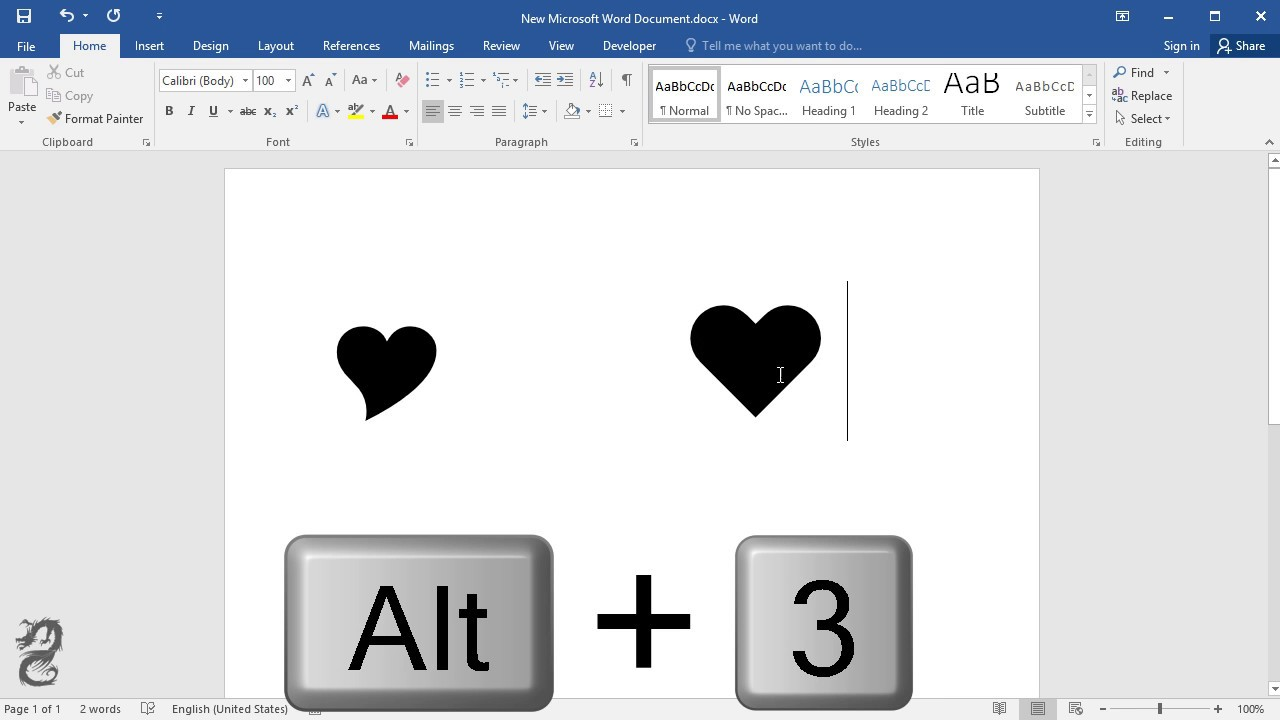 How To Type Heart Symbol In Word Youtube