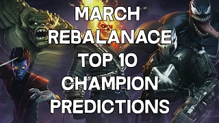 March Rebalance - Top 10 Champion Predictions - Marvel Contest Of Champions