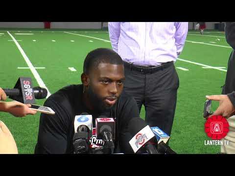 Ohio State QB J.T. Barrett speaks after practice on 10/24.