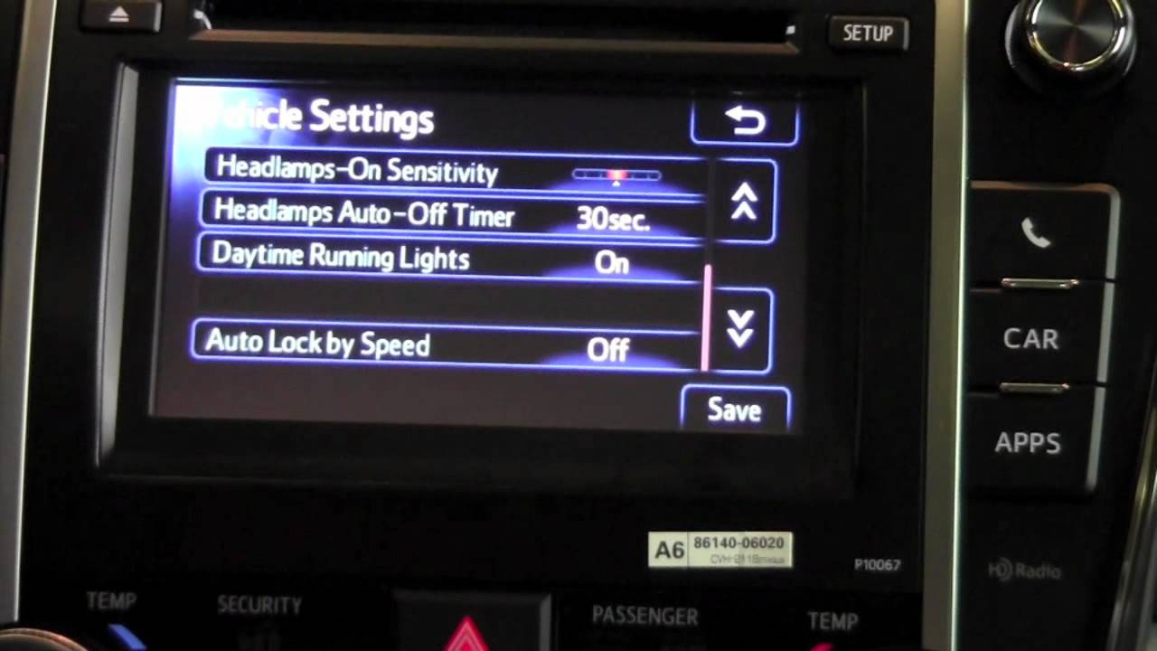 2012 Toyota Camry Vehicle Settings How To By