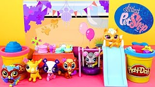 Littlest Pet Shop We Love to Party Playset Lucky and Lefty Deco Toys Play Doh Cake Playdough Present