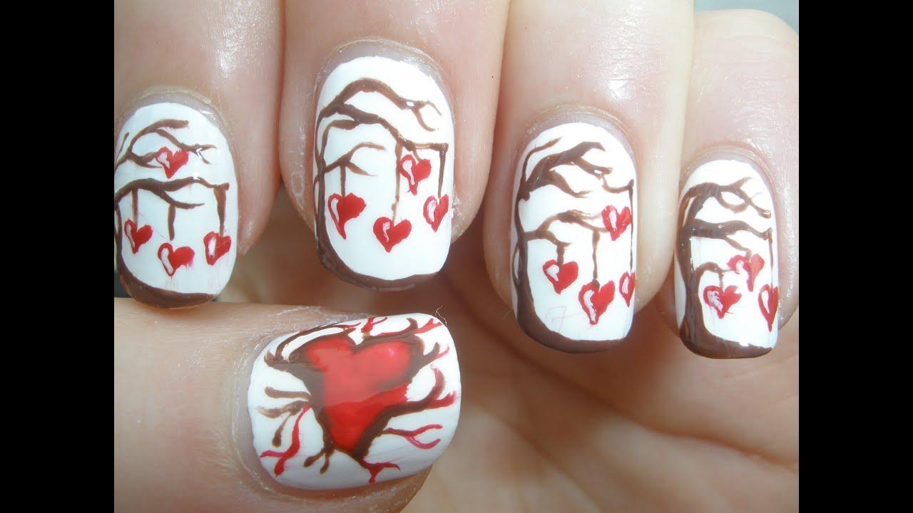 Valentines Day Love Tree Nail Art Tutorial - YouTube