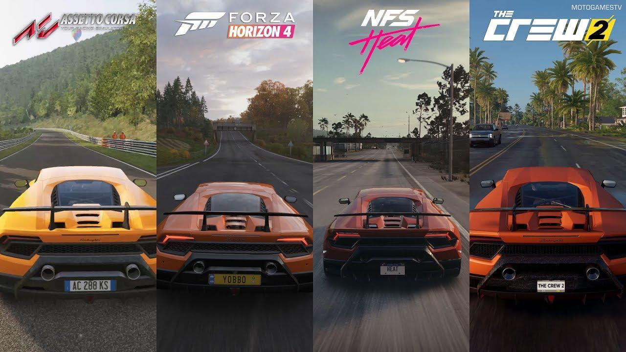 Assetto Corsa vs FH4 vs NFS Heat vs The Crew 2 - Lamborghini Huracán Performante Sound Comparison