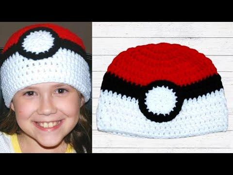 Crochet Pokeball Double Crochet Hat (All Sizes) - Crochet Jewel ... 10c99ea1ea36